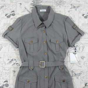 NWT Calvin Klein Military Inspired Shirt Dress